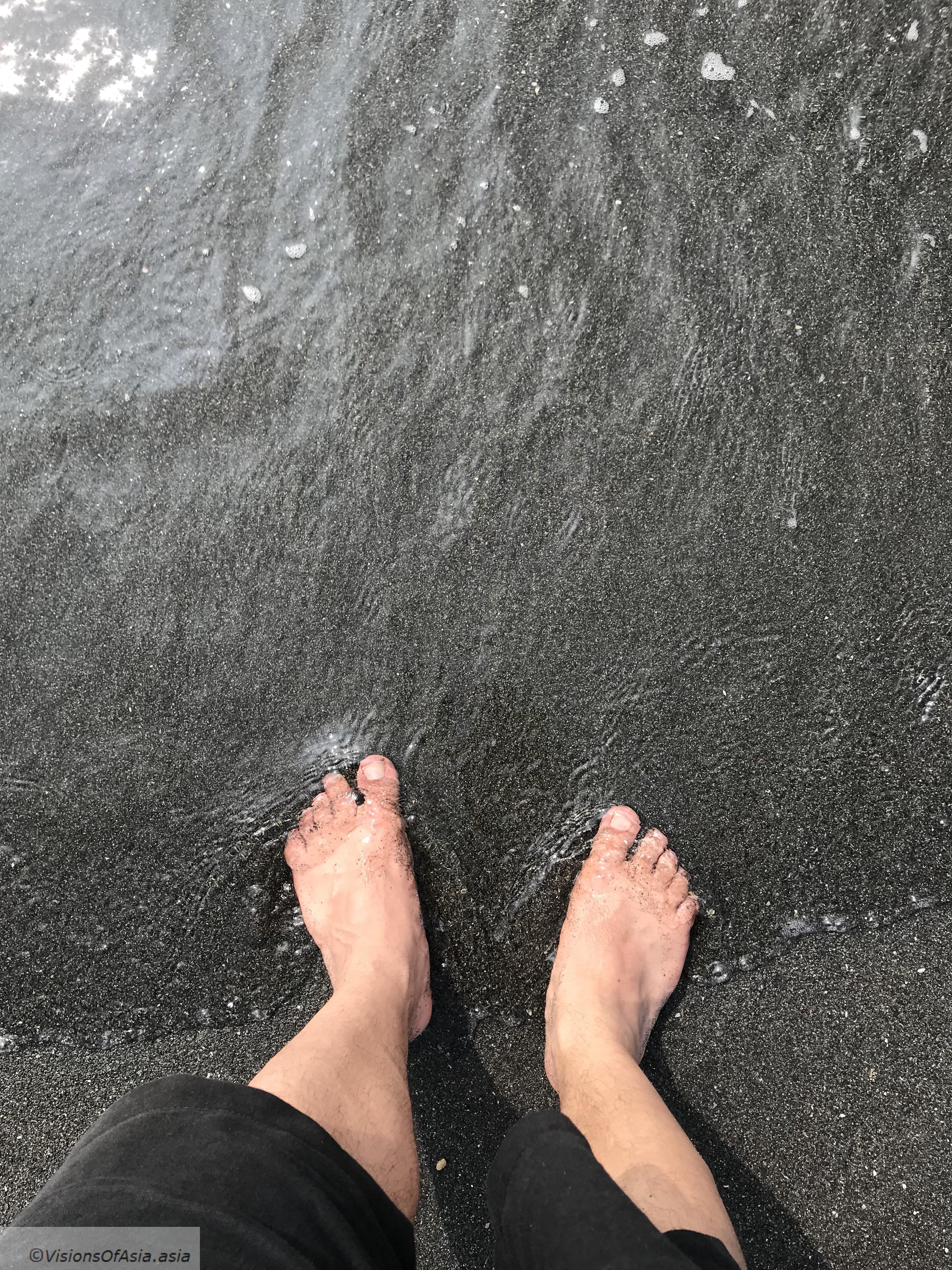 Seawater on feet