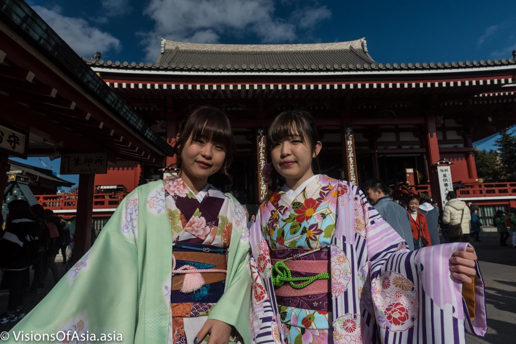Two young girls in kimono