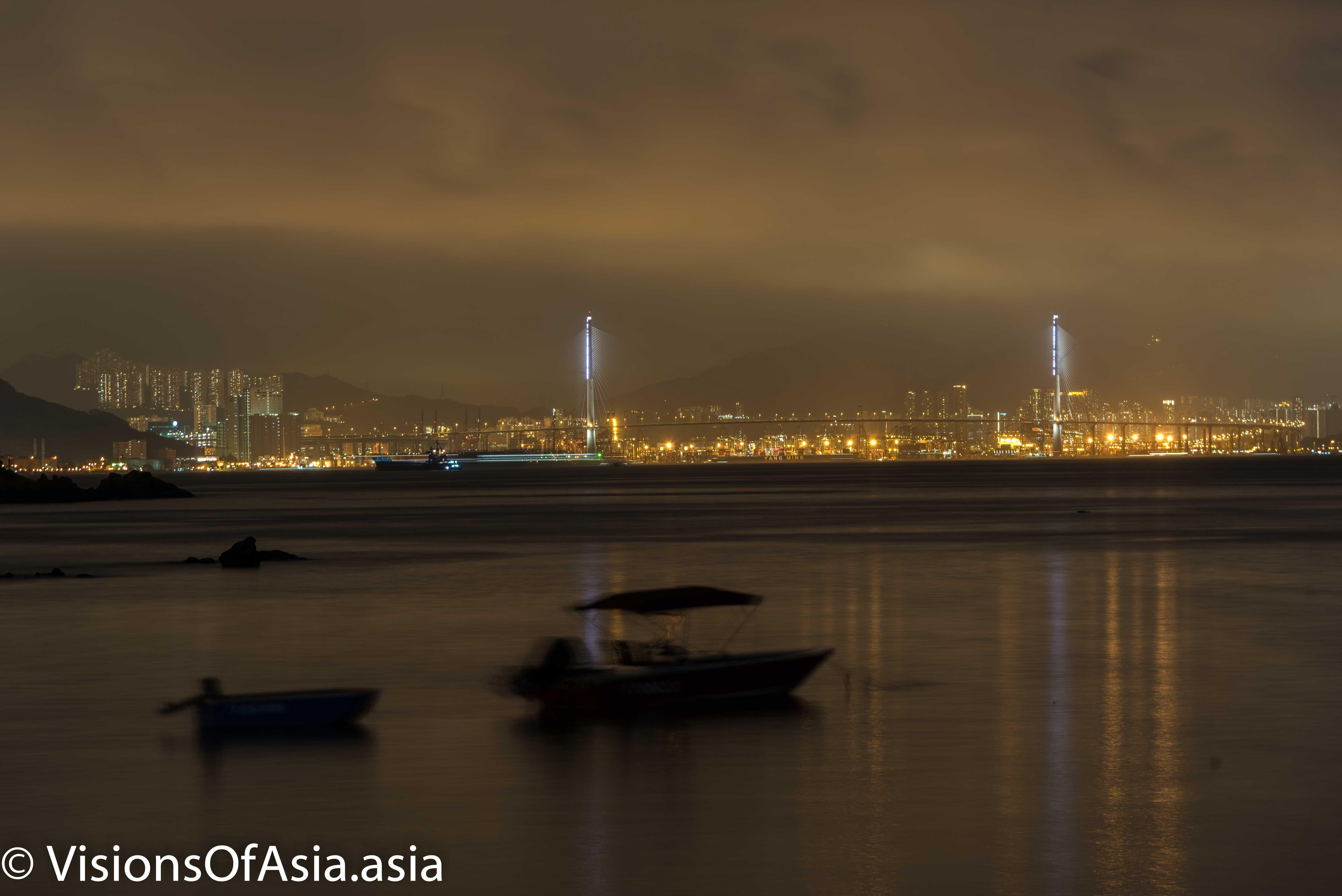 Tsing Ma bridge seen from the Peng Chau beach