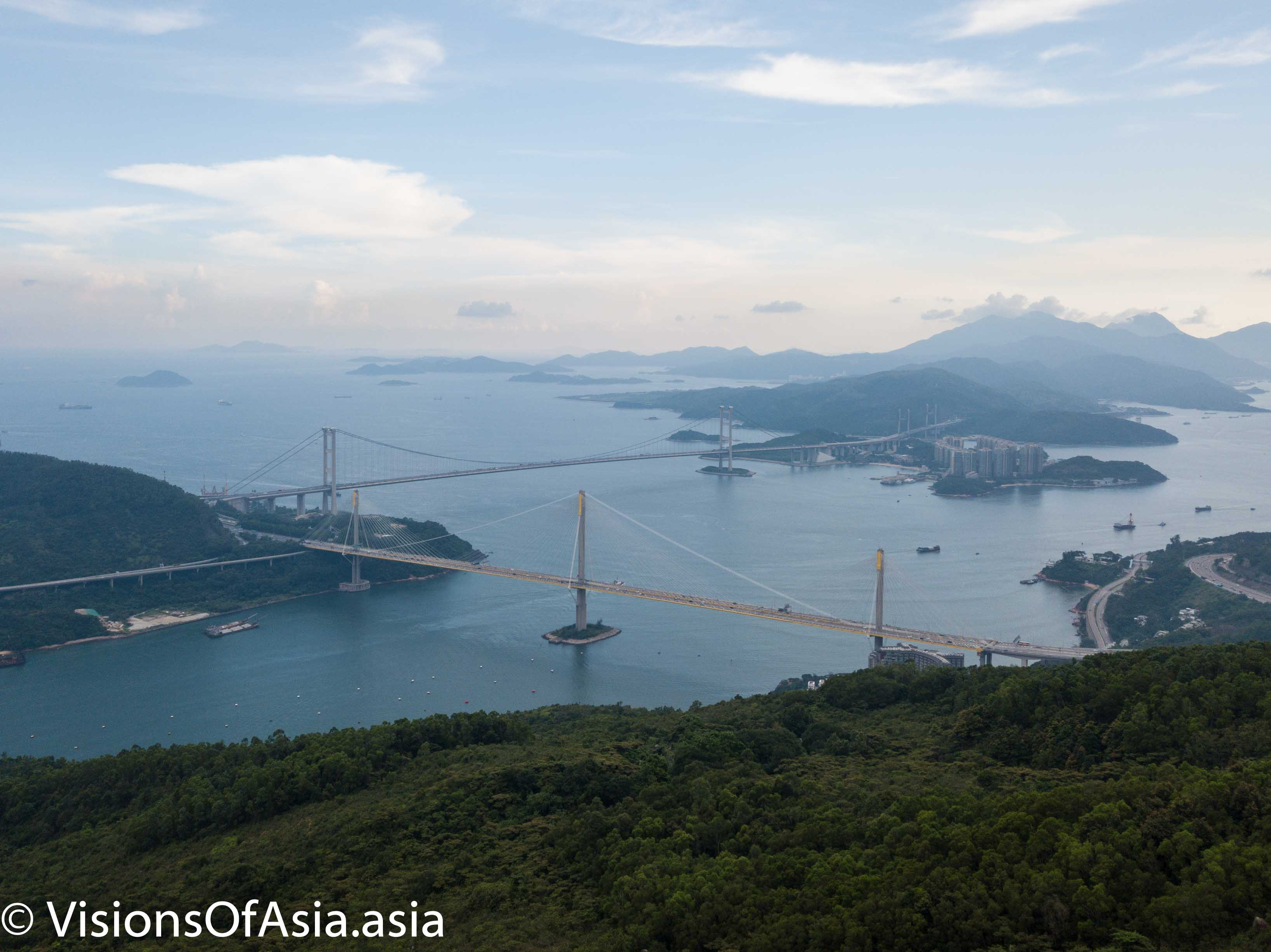 View on the Tsing Ma bridge