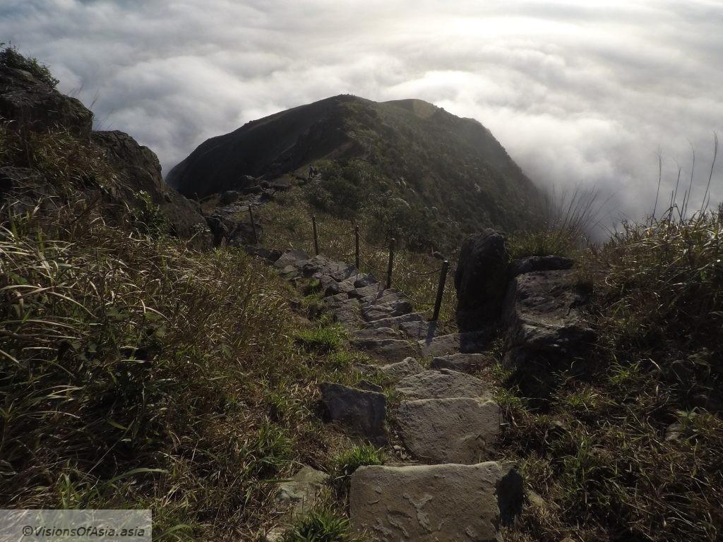 Stairs descending from Lantau Peak.