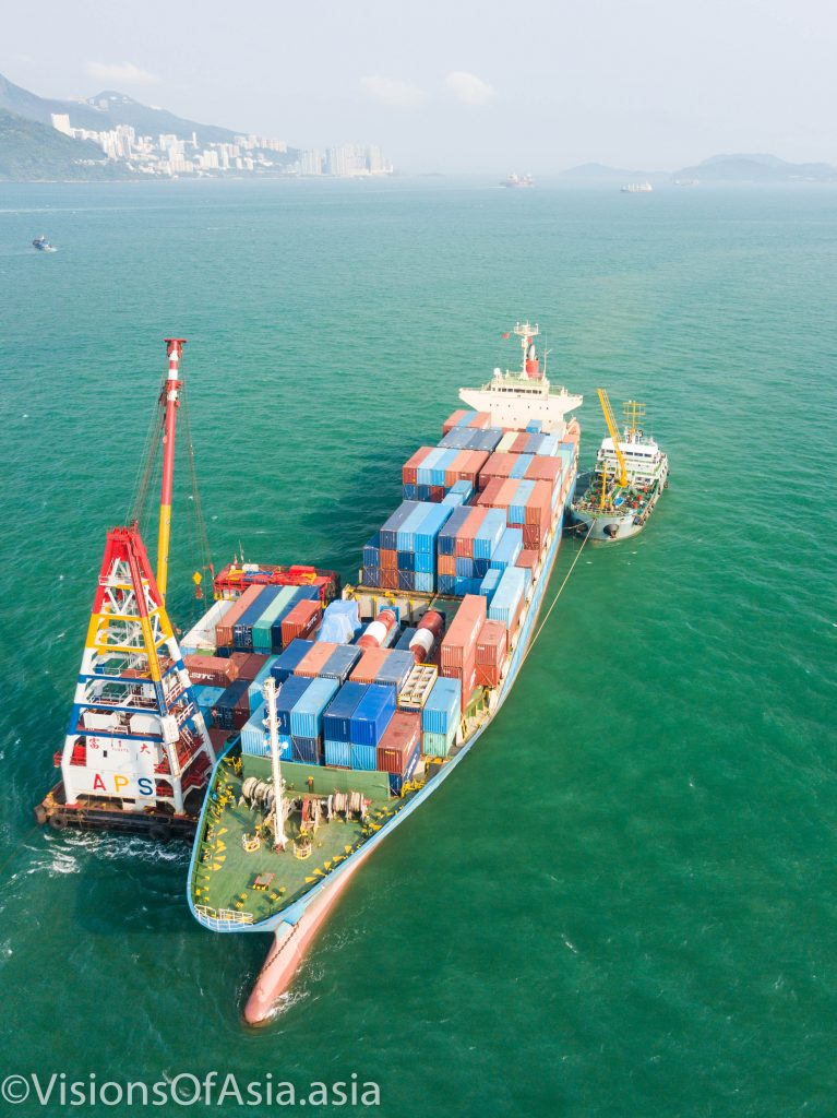 Container ship by drone