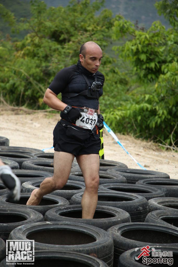 Jumping through the tyres...