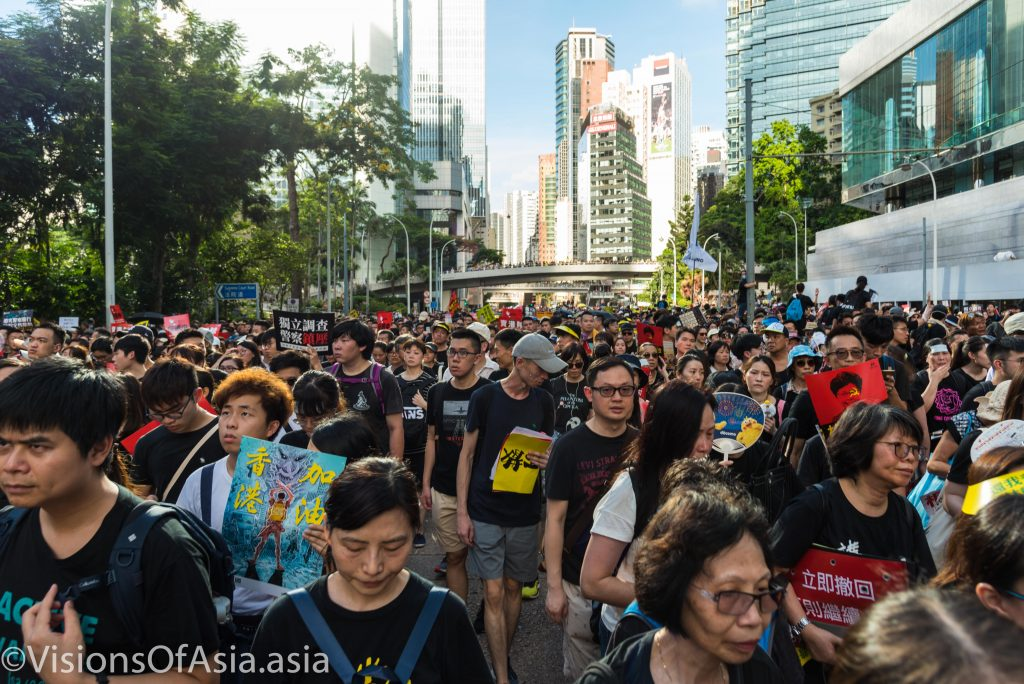 Protesters march in Hong Kong