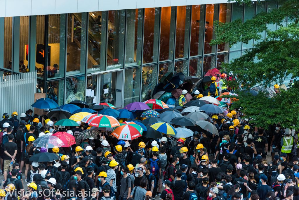 Protesters try to break into the LegCo