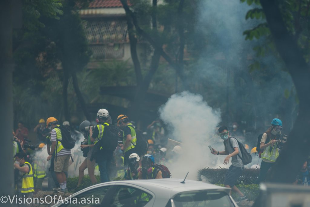 Tear gas canister goes off among journalists