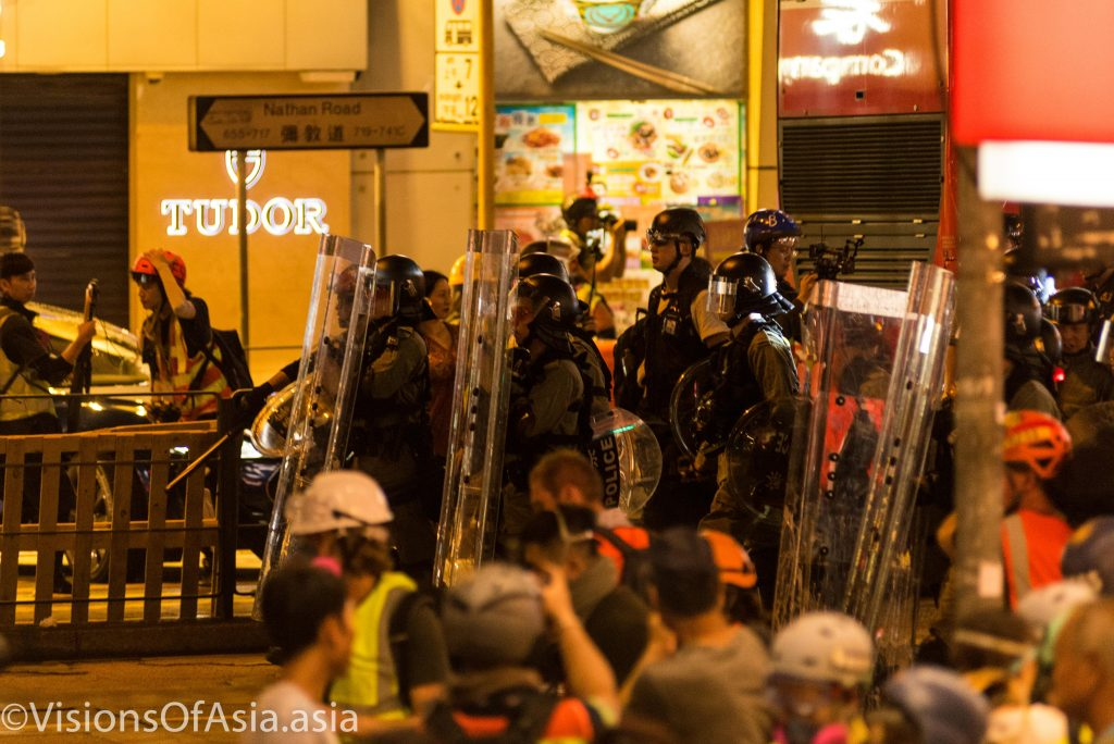Police deployed on Nathan Road