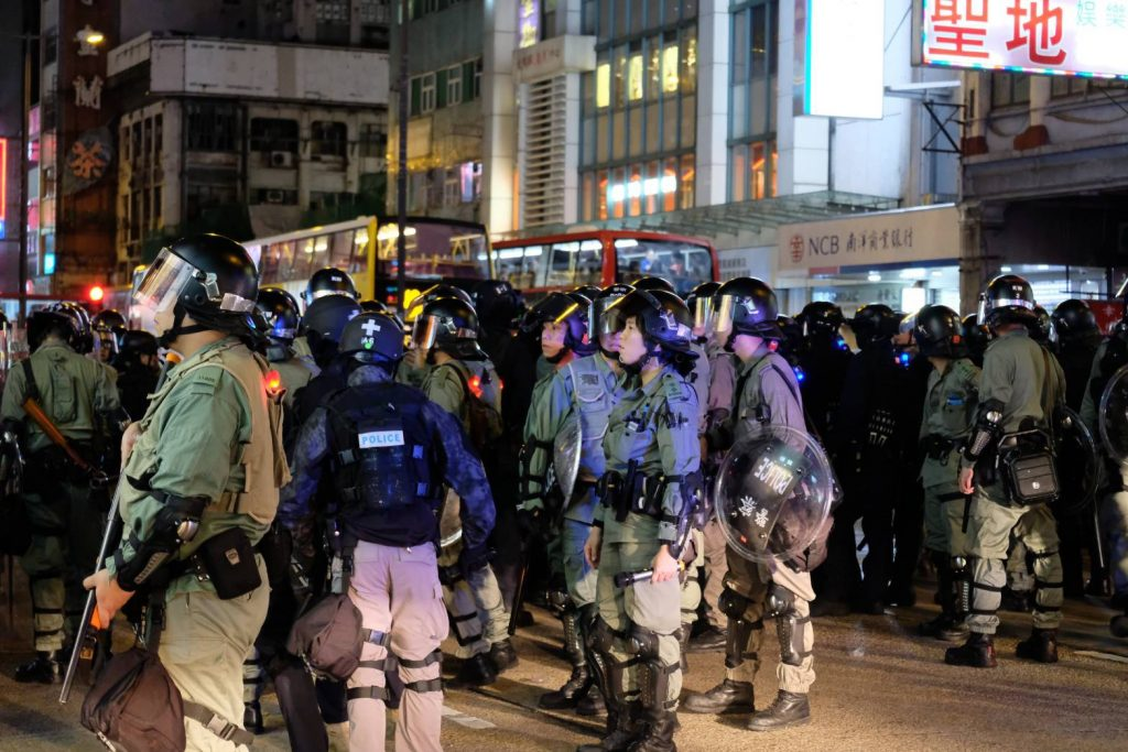 Riot police on Nathan road after a charge