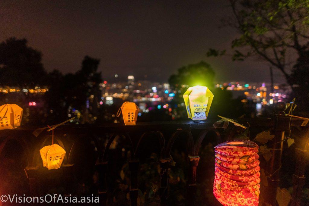 Mid-Autumn lanterns on background of the Peak