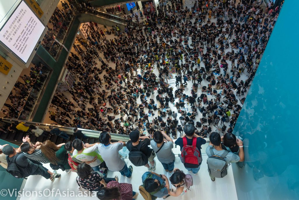 The crowd in the center of the mall