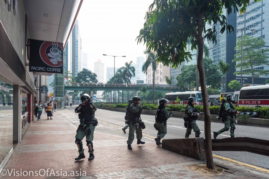 Riot police retire disorderly