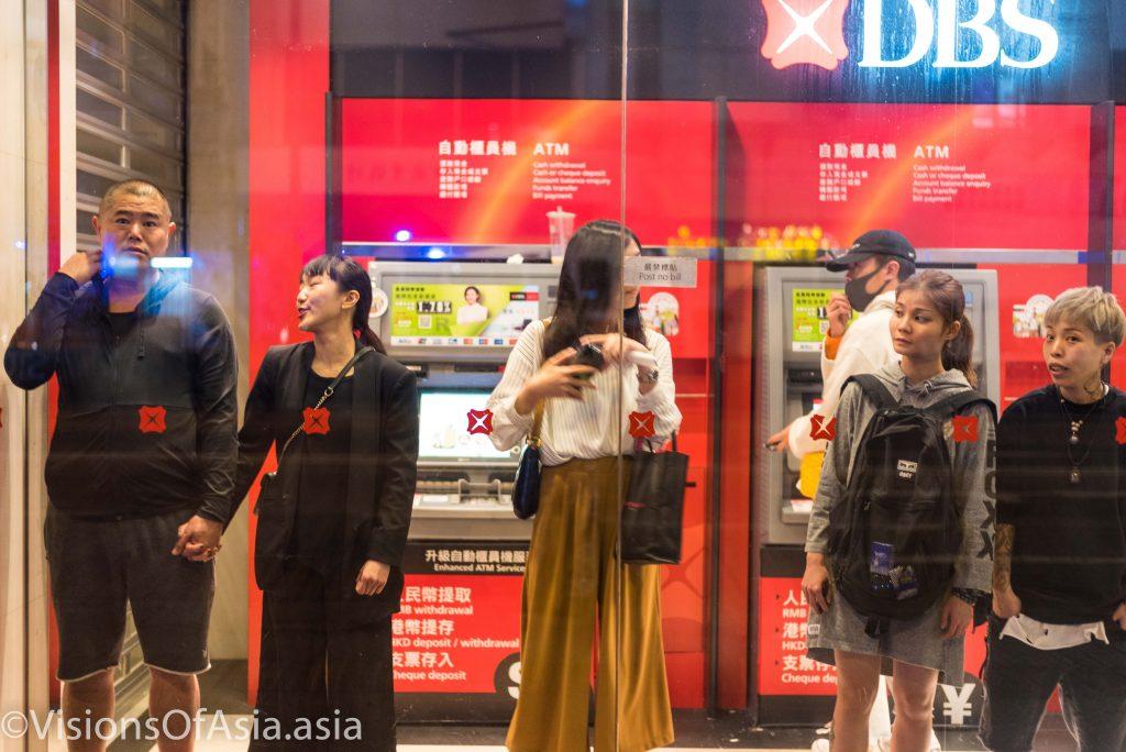 People seeking refuge in a bank
