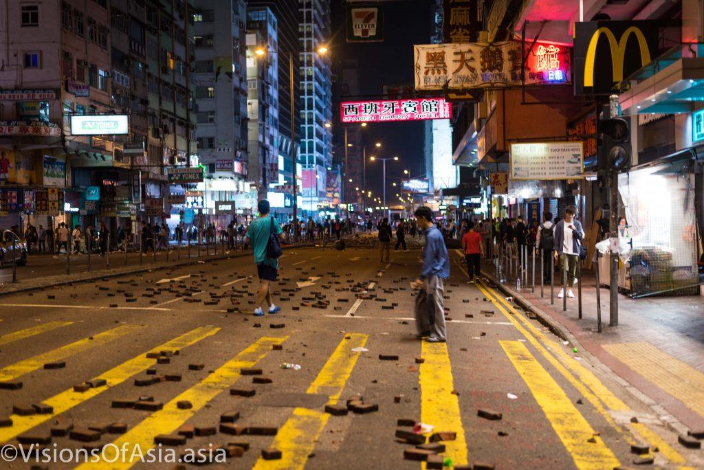 Argyle road in Mongkok strewn with bricks