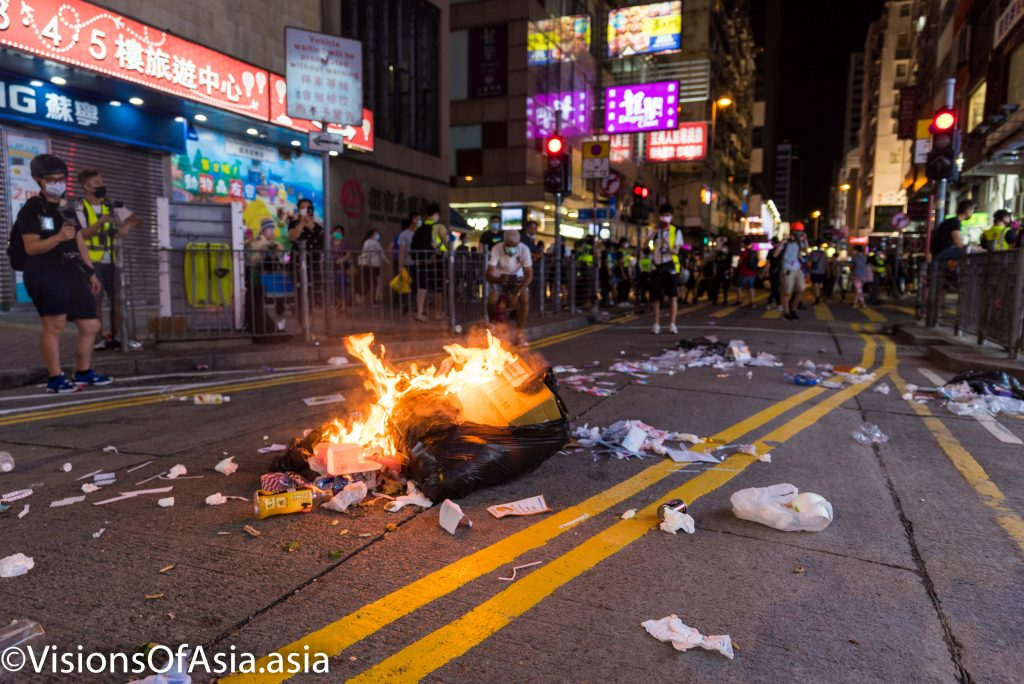 Rubbish bag set on fire in Mongkok