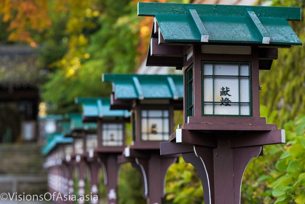 Lanterns lining Yasaka temple