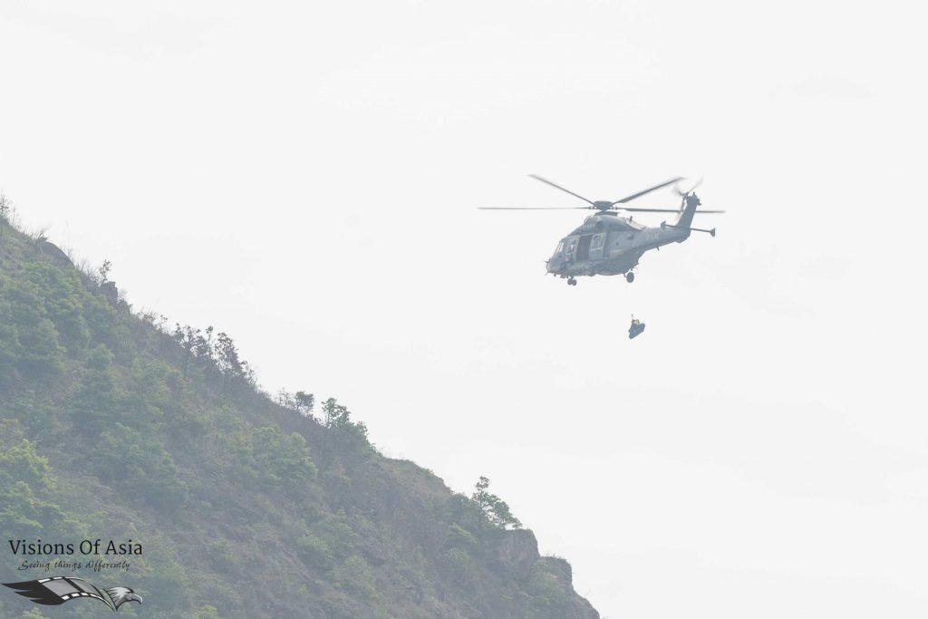 GFS helicopter dropping rescue material
